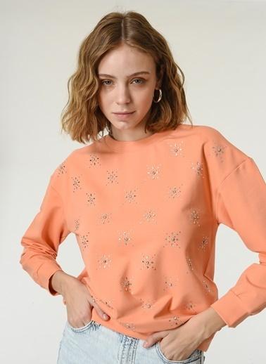 NGSTYLE Kadın Nakış Detaylı  Sweatshirt NGKSS21SW0024 Somon